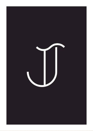 Calligraphy big letter j black poster