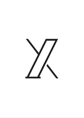 Calligraphy big letter x white poster