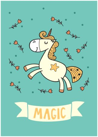 Unicorn magic cartoon poster