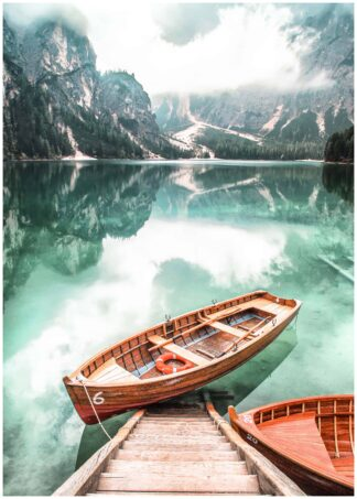 Brown gondola on body of water poster