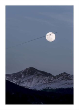 Snowy peaks during fullmoon poster