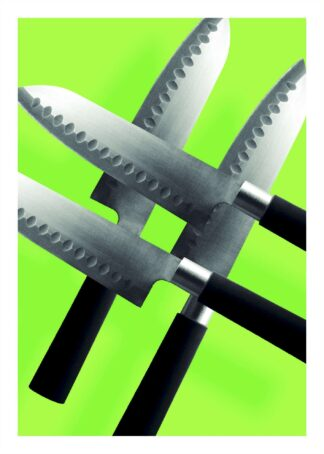 Knives on green background poster