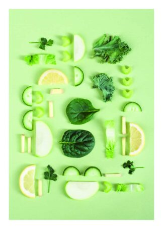 Nutrition food on green background poster