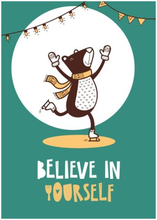 Believe in yourself cartoon poster