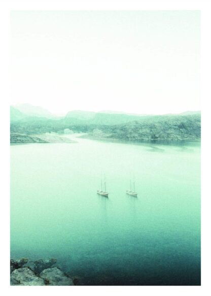 Boats on icy sea poster