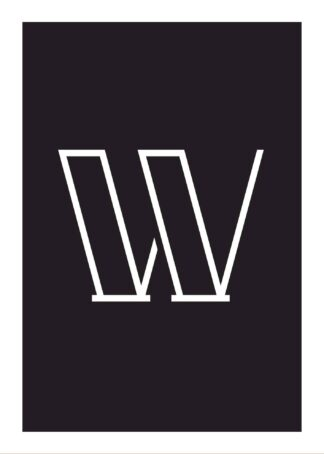 Calligraphy big letter w black poster