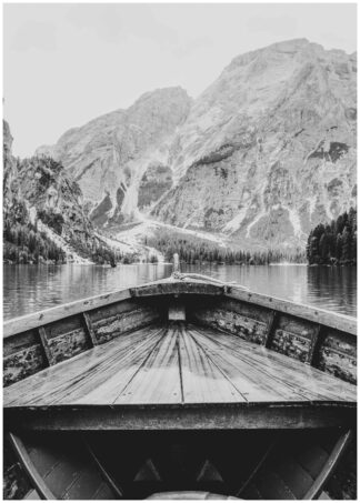 Wooden boat in cold waters poster