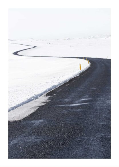 Plowed road in snowy environment poster