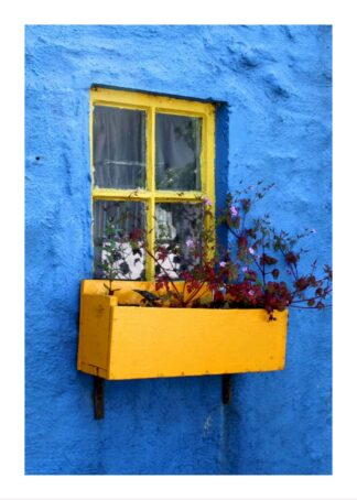 Little yellow window on blue wall poster