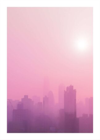 Pink skyline during sunrise poster