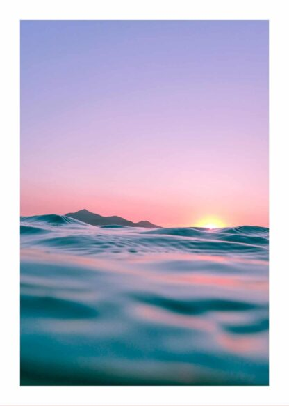 Pink sunrise in sea poster