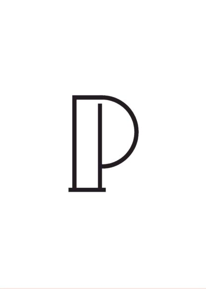Calligraphy big letter p white poster