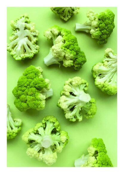 Broccoli on green background poster