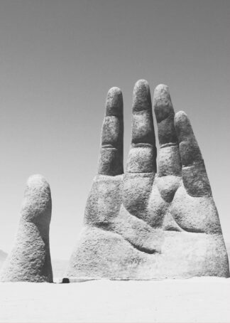 Sculpture hand in the sand poster