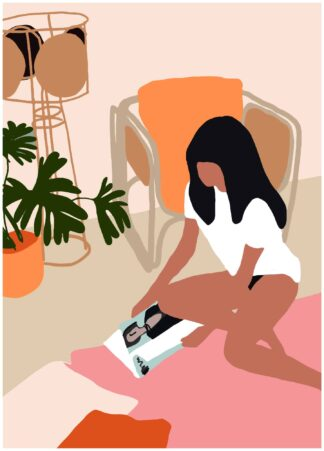 Abstract girl reading  poster