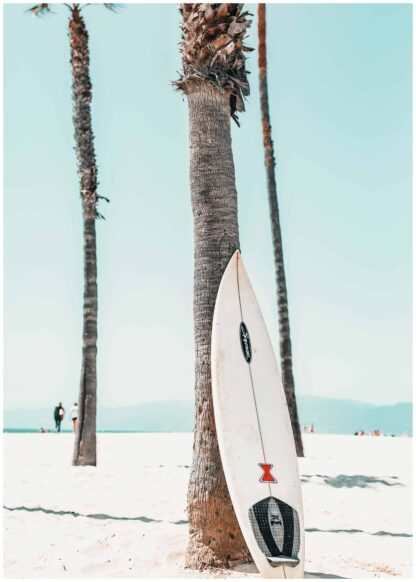 Surfboard against tree poster