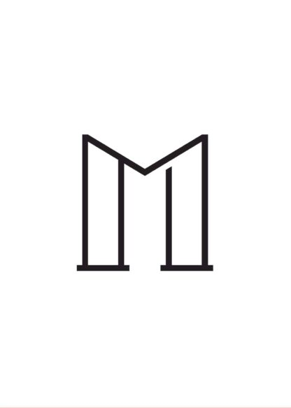 Calligraphy big letter m white poster