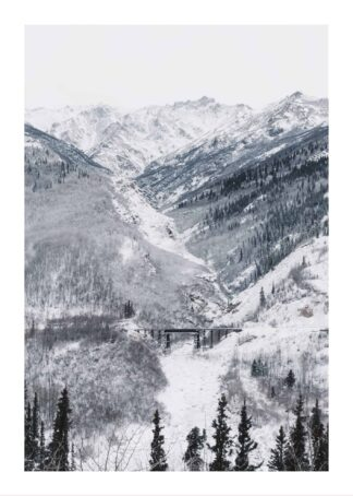 Train rail through snowy mountain pass poster