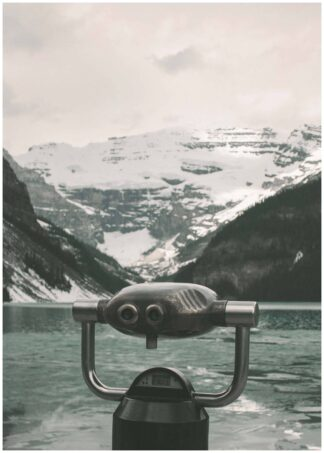 Gray telescope over the lake poster