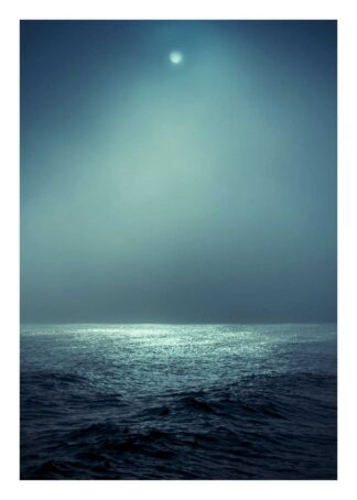 Moonshine on calm ocean poster