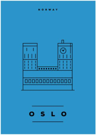 Oslo illustration on blue background poster