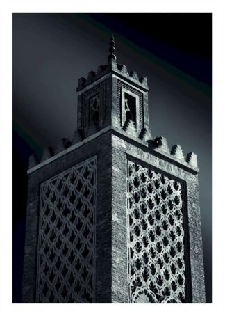 Gray bricked wall tower poster