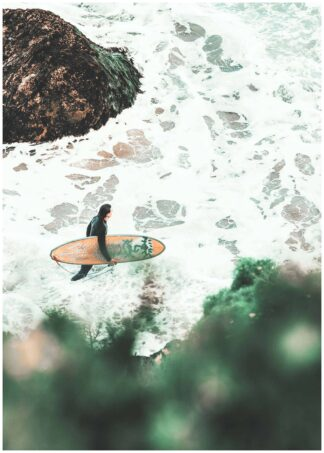 Surfer in the water poster