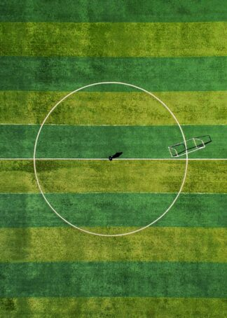 Soccer field with goal poster
