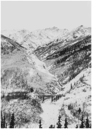Snowy mountain valley poster