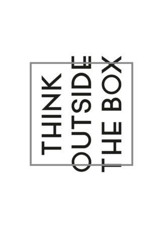 Think outside the box text poster (Horizontal)