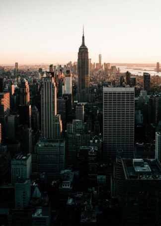 New York city sunset skyscrapers poster