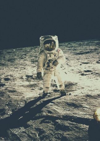 Spaceman walking on the moon poster
